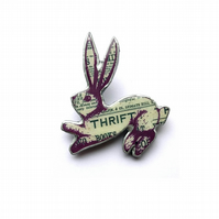 Whimsical literary Victoriana Thrift Rabbit Brooch by EllyMental