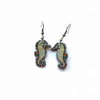 Whimsical wonderful Rainbow Seahorse Resin Earrings by EllyMental