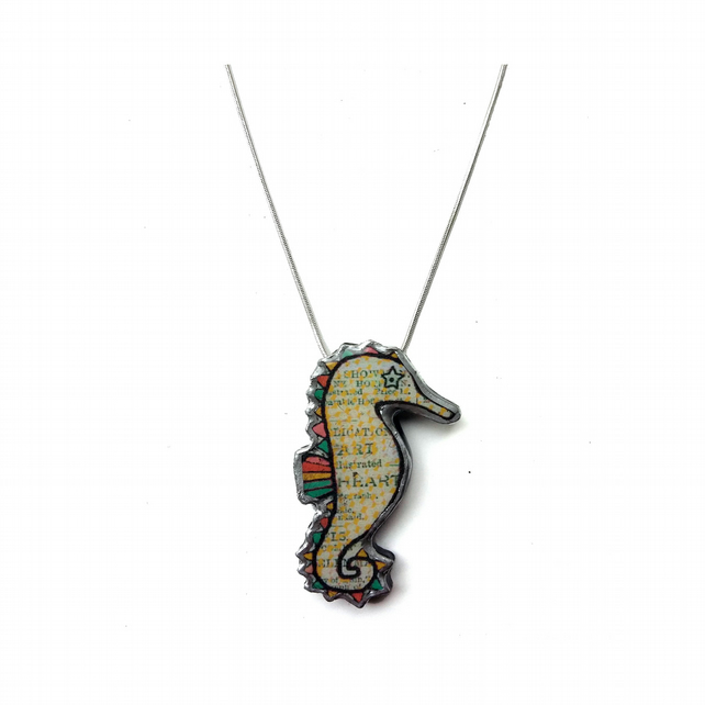 Wonderful Whimsical Rainbow Seahorse Resin Necklace by EllyMental