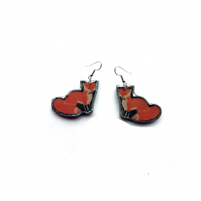 Whimsical wonderful woodland Fox Resin Earrings by EllyMental