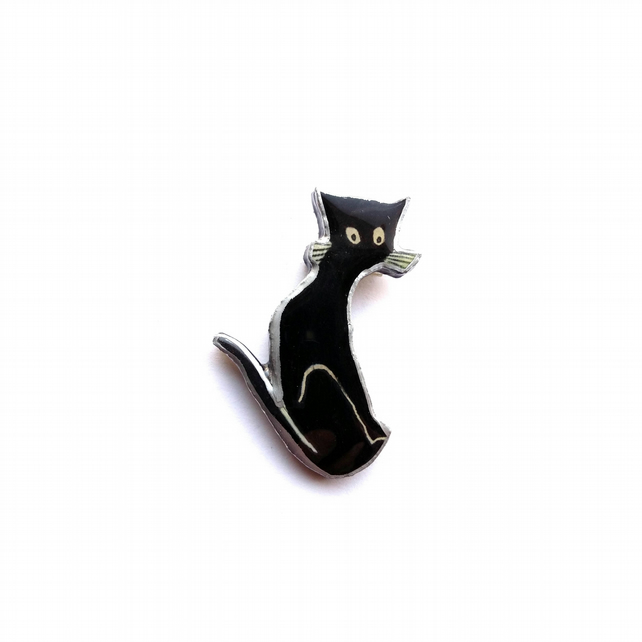 Whimsical Halloween Goth Black Cat Resin Brooch by EllyMental