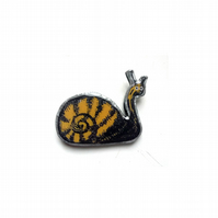 Whimsical Yellow Snail Resin Brooch by EllyMental