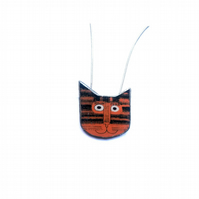 Little Orange Stripey Cat whimsical resin Necklace by EllyMental Jewellery