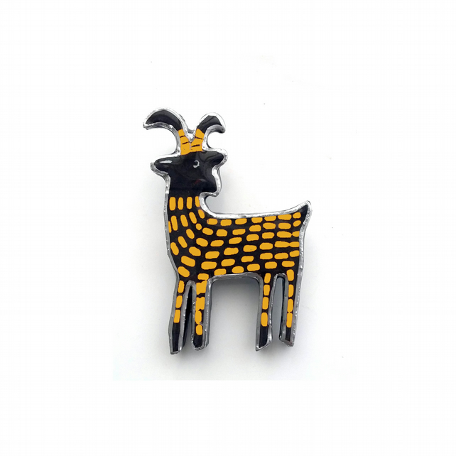 Whimsical Yellow Elk Scandi Resin Brooch by EllyMental