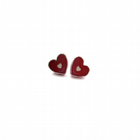 Romantic Heart Valentines Ear Studs by EllyMental