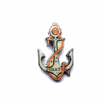 Whimsical Statement Pirate Nautical Anchor Resin Brooch by EllyMental
