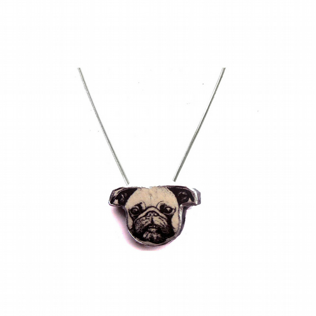 Wonderfully whimsical kitsch Pug Dog little necklace by EllyMental