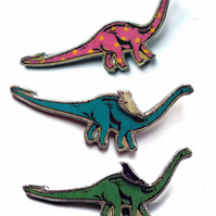 Amazing statement diplodocus dinosaur Resin Brooch (pick design) by EllyMental
