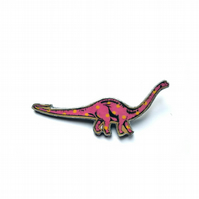 Amazing statement pink Spotty Diplodocus dinosaur Resin Brooch by EllyMental