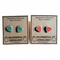 Whimsical Heart kitsch Resin Ear Studs by EllyMental