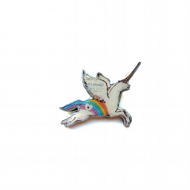 Whimsical rainbow Unicorn Kitsch Resin Brooch by Ellymental
