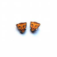 Wonderfully orange leopard cufflinks by EllyMental