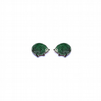 Wonderful little green Hedgehog cufflinks by EllyMental