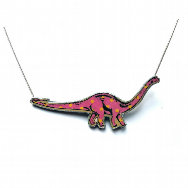 Amazing statement pink spotty Diplodocus dinosaur Resin Necklace by EllyMental