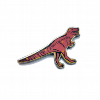 Amazing pink T.Rex dinosaur Fight the Power Resin Brooch by EllyMental