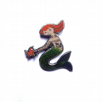 Whimsical Flame haired Mermaid with layered starfish Brooch by EllyMental