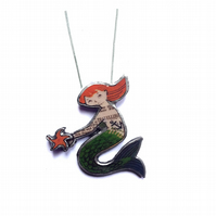 Whimsical Flame haired Mermaid with layered starfish Necklace by EllyMental