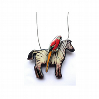 Quirky Whimsical Zebra & Parrot Necklace by EllyMental