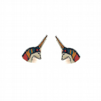 Whimsical wonderful multicoloured unicorn Resin Ear Studs by EllyMental
