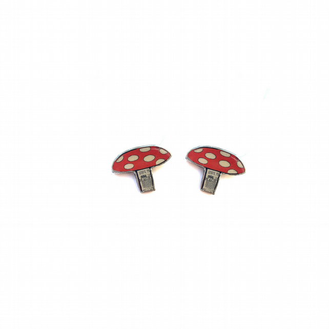 Large whimsical red white Toadstool Resin Ear Studs by EllyMental