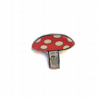 Large whimsical red white Toadstool Resin Brooch by EllyMental