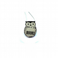 Little Whimsical Literary Owl resin Necklace by EllyMental
