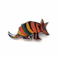 Rainbow Stripe Armadillo Whimsical Resin Brooch by EllyMental