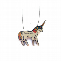 Whimsical colourful 'Make A Wish' Unicorn  necklace by EllyMental