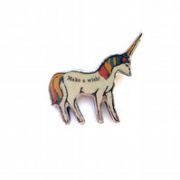 Whimsical colourful 'Make A Wish' Unicorn  Brooch by EllyMental