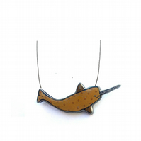 Whimsical colourful Mustard Yellow Narwhal  necklace by EllyMental