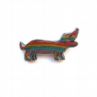 Rainbow Sausage Dog Dachshund Resin Pride Brooch by EllyMental Jewellery