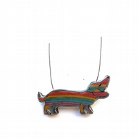 Rainbow Sausage Dog Dachshund Resin Pride Necklace by EllyMental Jewellery