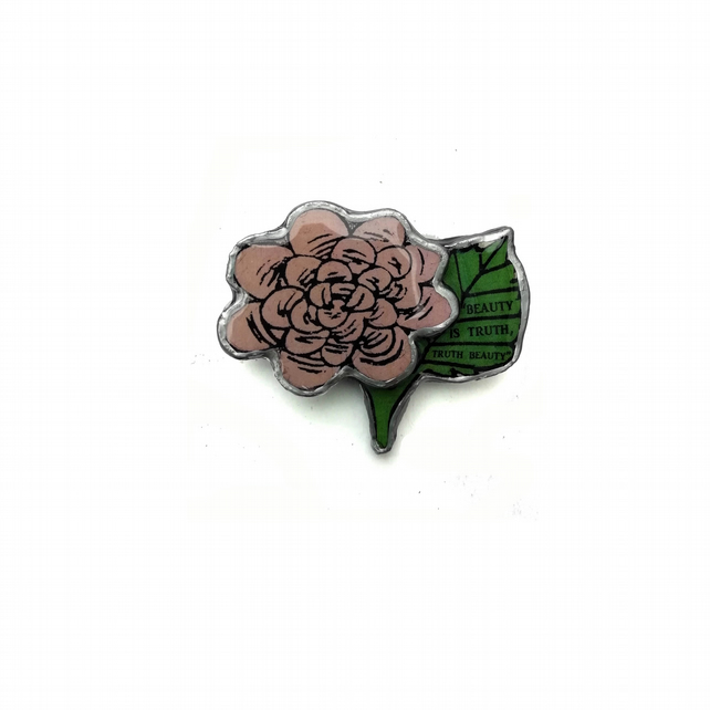 Poetic Keats Rose Flower Resin Brooch 'Beauty is Truth' by EllyMental Jewellery