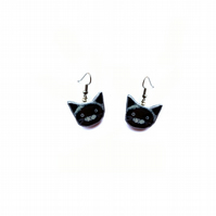 Little whimsical Black Cat Earrings by EllyMental