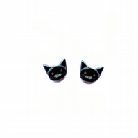 Little whimsical Black Cat Ear studs by EllyMental