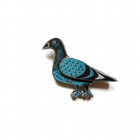 Blue Pigeon Homeward Bound Resin Brooch by EllyMental