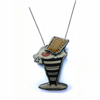 Large layered statement Kitsch Icecream Sundae resin necklace by EllyMental