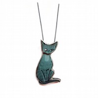 Whimsical retro blue grey siamese cat Necklace by EllyMental