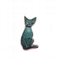 Whimsical retro blue grey siamese cat Brooch by EllyMental