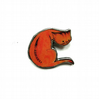 Whimsical Ginger curiosity Cat Resin Brooch by EllyMental