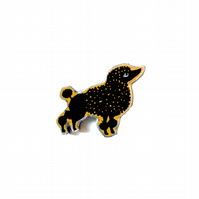Whimsical Black Poodle Dog Brooch by EllyMental