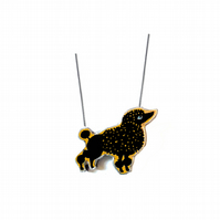 Whimsical Black Poodle Dog Necklace by EllyMental