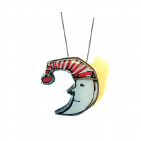 Large Mr Moon wonderfully whimsical retro Necklace by EllyMental Jewellery