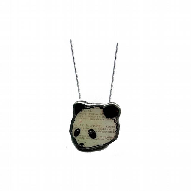 Whimsical mini panda resin Necklace by EllyMental
