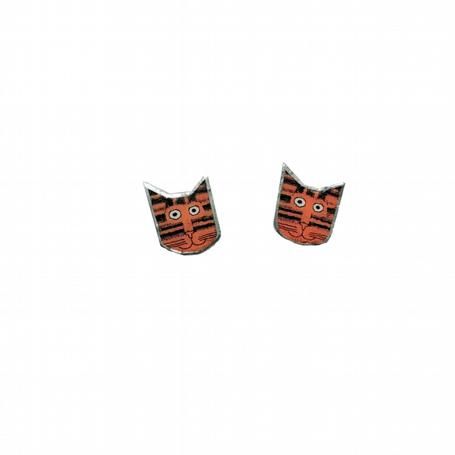 Little Orange Stripey Cat whimsical resin earstuds by EllyMental Jewellery