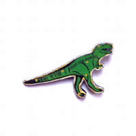 Amazing green T Rex dinosaur Fight the Power Resin Brooch by EllyMental