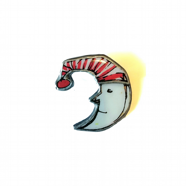 Large Mr Moon wonderfully whimsical retro Brooch by EllyMental Jewellery