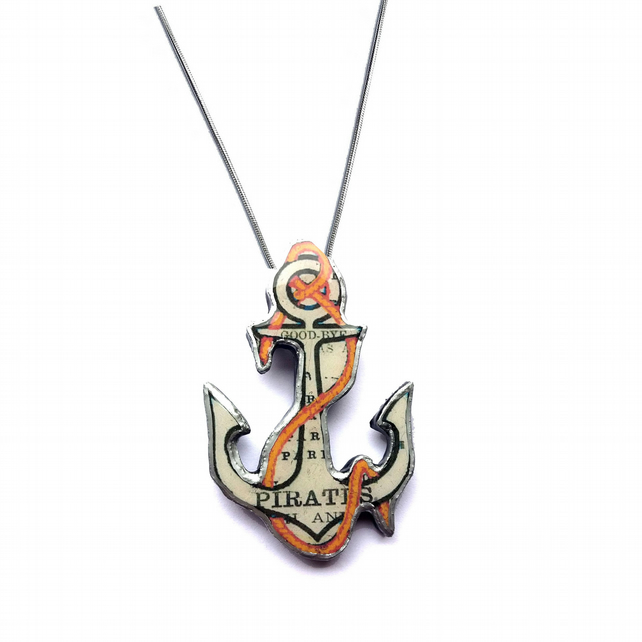 Whimsical Statement Pirate Nautical Anchor Resin Necklace by EllyMental