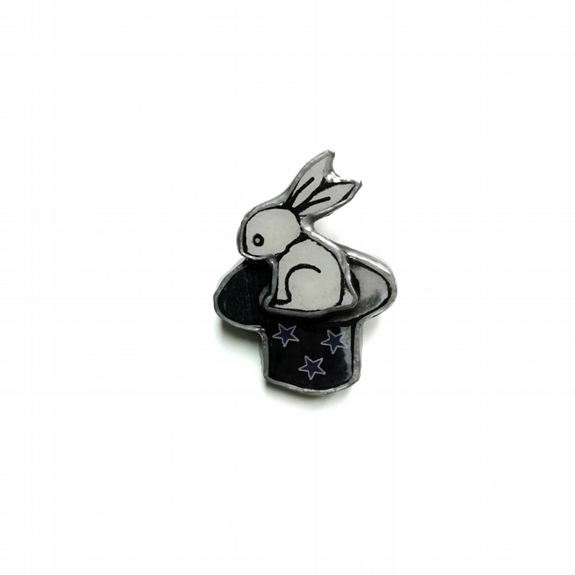 Wonderfully Whimsical Magic Rabbit in a Top Hat Brooch by EllyMental Jewellery