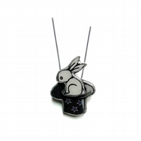 Wonderfully Whimsical Magic Rabbit in a Top Hat Necklace by EllyMental Jewellery